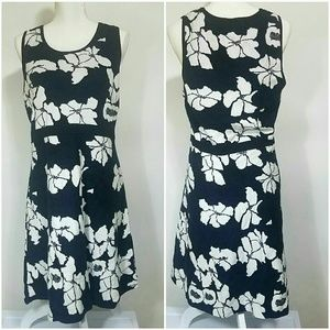 Ann Taylor floral holiday winter dress white black